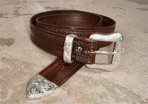 Straight Border Tooled Belt