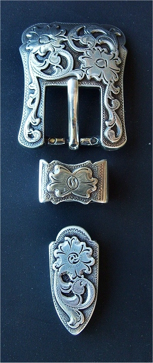 Hammered Floral Belt Buckle for Ranger Belt