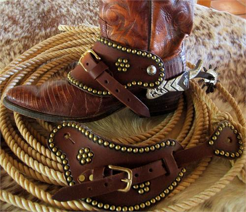 Old Time Western Spur Straps are outlined with spots and feature an interior spot design. Goes well with any set of spurs.