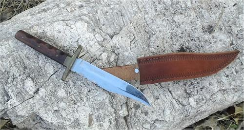 Antique Sheffield Bowie Knife by J Nowill in excellent condtion with custom made handtooled leather sheath
