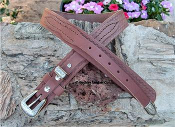 Western leather basketweave ranger belt hanmade in USA