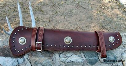 Mares Leg Rifle Scabbard featuring Mexican Hat Conchos and Border Tooling, handmade by Cochise Leather Co, Cochise Arizona