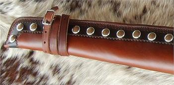 Closeup of barrel end on Pendelton Rifle Scabbard