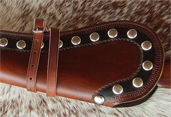 Pendelton western rifle scabbard with border tooling and spots closeup for detailing
