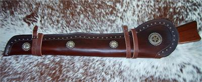 Border tooled US Marshall rifle scabbard with spots and conchos, fully lined.
