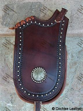 Western Pommel Bag with Holster on Pockets Beaneath Flaps. Decorated with Floral Conchos and Spots