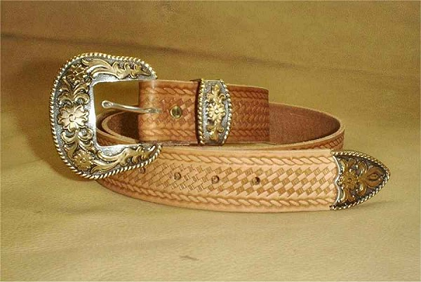 Traditional Straight Basketweave Belt with choice of leather color and belt buckles. Custom made to order by Cochise Leather Company