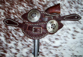 Leather spur straps, AZ Ranger Concho and spots