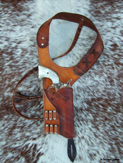 1880's Style Shoulder Holster w/Border Tooling