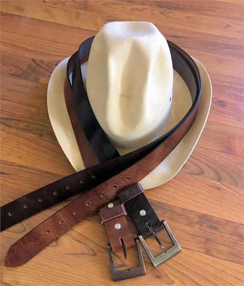 Buffalo leather belts are unlined, available in two colors and choice of buckels.