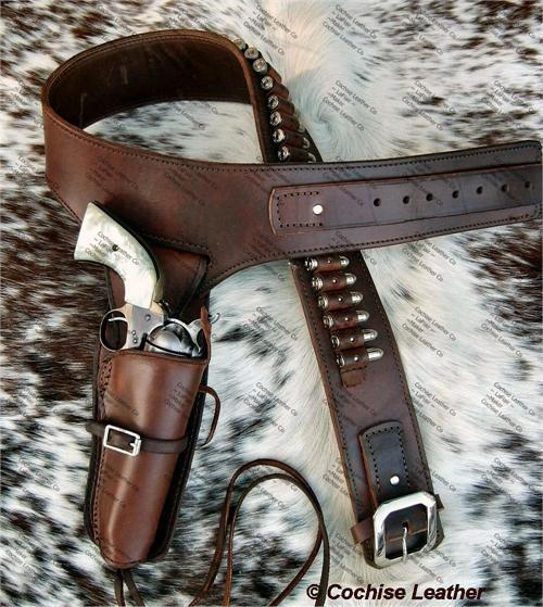The Deputy buscadero gun rig is made by Cochise Leather Co in the USA, custom made to your order.