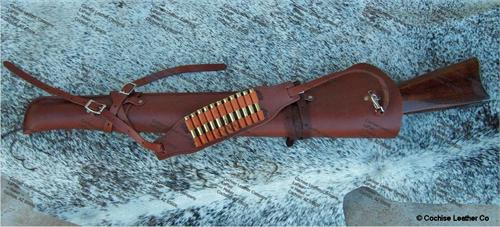 The Hunsman Western Leather Rifle Scabbard with saddle straps and shoulder straps with bullet loops is ideal for your saddle or ATV