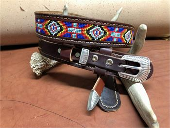 Custom leather ranger belt with bead inset, choice of belt colors and buckles. Made in the USA.