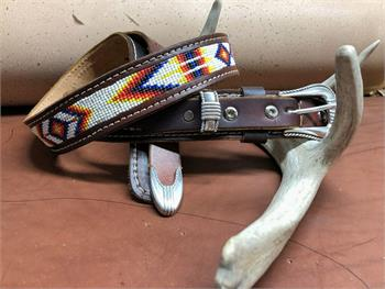 Western leather Ranger belt with inset bead band. Made in the USA.