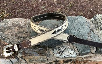 Handmade horsehair belt in cream with brown diamonds
