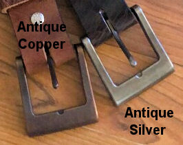 Choice of antique copper or antique silver for buffalo belts.