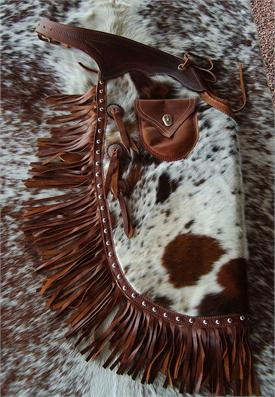 Custom leather hair-on chinks are custome made in USA to order