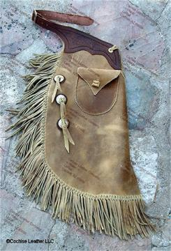 Frisco Oil Tanned Cowhide Chinks - Border Tooled Yoke and Conchos with Bleedknots