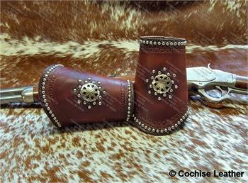 The Gambler Wrist Cuffs with Card Suit Conchos worn with long sleeve shirst