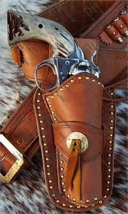 Western leather gun holster closeup.