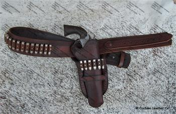 The Tombstone leather gunbelt and holster with border tooling, hand made in Cochise, AZ by Cochise Leather Co.