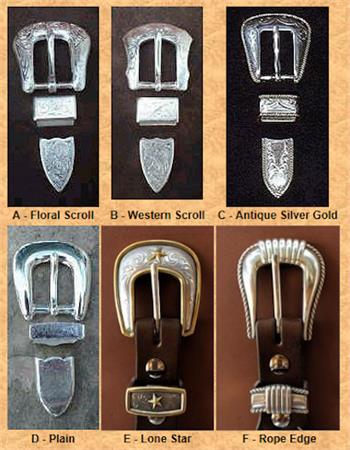 Six belt buckle choices for Ranger Belts