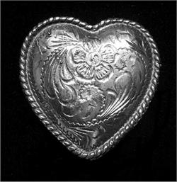 Rope-edged Heart Concho is shaped like a heart and made of white bronze by Cochise Leather in the USA.