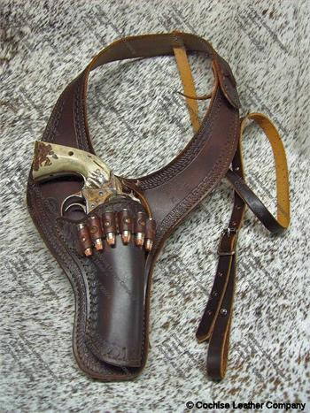 Border Bandit shoulder holster, border tooled in western design by Cochise Leather